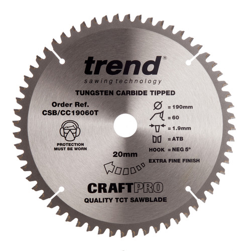 Trend CSB/CC19060T CraftPro Saw Blade Crosscut 190mm x 60T - 2