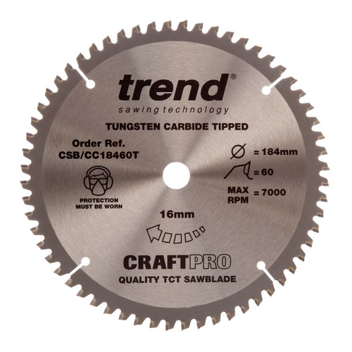 Trend CSB/CC18460T CraftPro Saw Blade Crosscut 184mm x 60T - 5