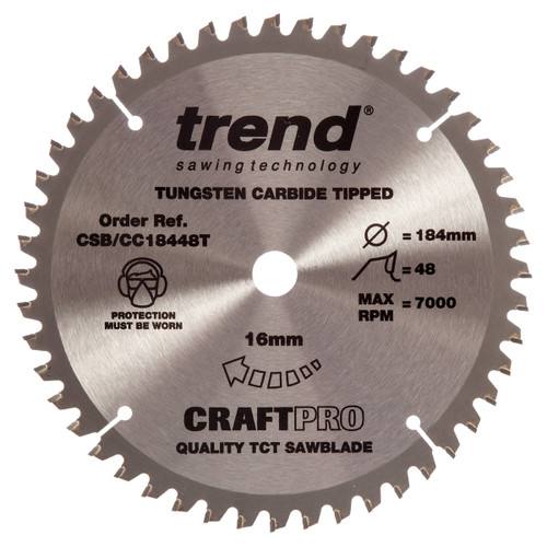 Trend CSB/CC18448T CraftPro Saw Blade Crosscut 184mm x 48T - 5