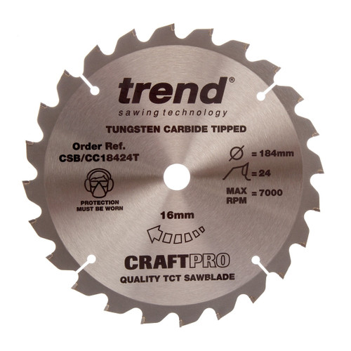 Trend CSB/CC18424T CraftPro Saw Blade Crosscut 184mm x 24T - 5