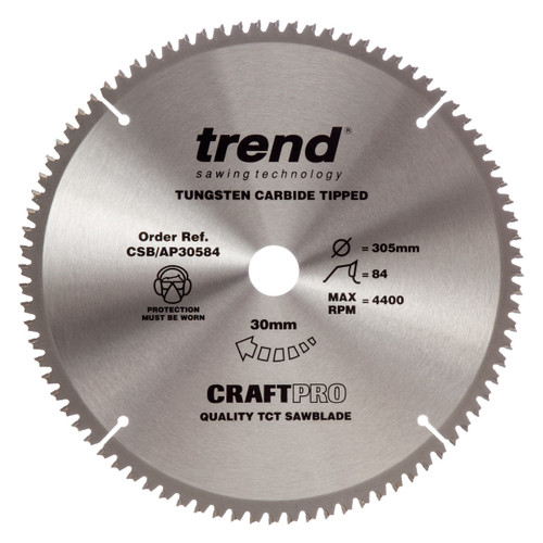 Trend CSB/AP30584 CraftPro Saw Blade for Aluminium & Plastic 305mm x 30mm x 84T - 5