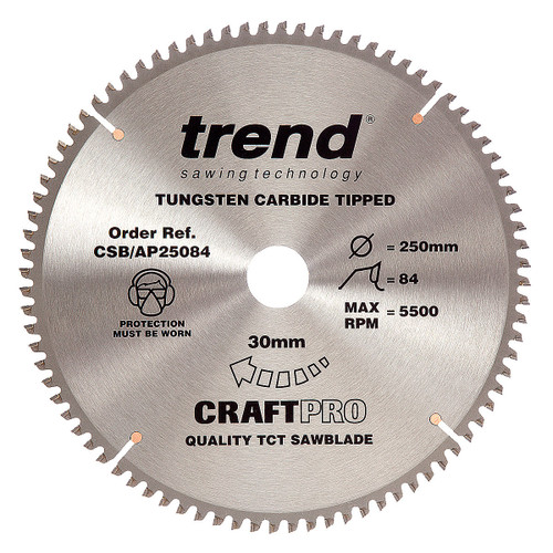 Trend CSB/AP25084 CraftPro Saw Blade for Aluminium & Plastic 250mm x 30mm x 84T - 5