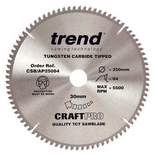 Trend CSB/AP25084 CraftPro Saw Blade for Aluminium & Plastic 250mm x 30mm x 84T - 5