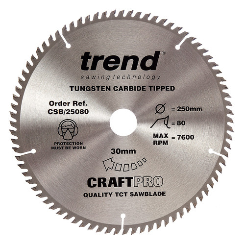 Trend CSB/25080 CraftPro Saw Blade 250mm x 30mm x 80T - 5