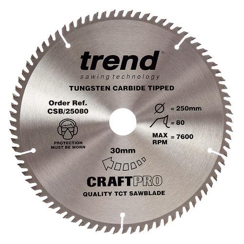 Trend CSB/25080 CraftPro Saw Blade 250mm x 30mm x 80T - 5