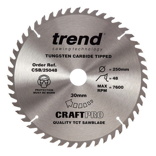 Trend CSB/25048 CraftPro Saw Blade 250mm x 30mm x 48T - 6