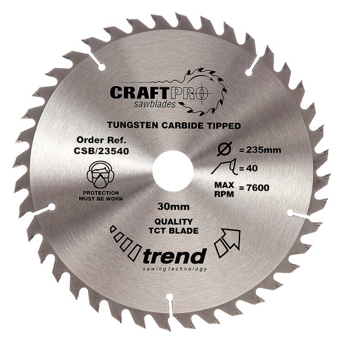 Trend CSB/23540 CraftPro Saw Blade 235mm x 30mm x 40T - 5