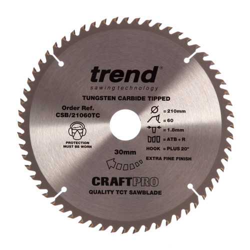 Trend CSB/21060TC CraftPro Saw Blade 210mm x 30mm x 60T - 2