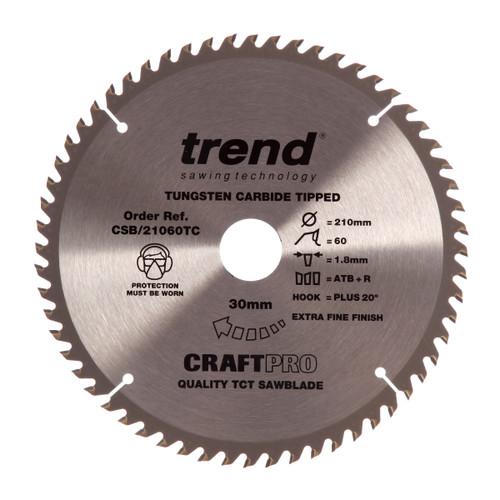 Trend CSB/21060TC CraftPro Saw Blade 210mm x 30mm x 60T - 2