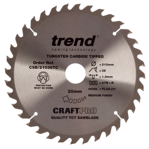 Trend CSB/21036TC CraftPro Saw Blade 210mm x 30mm x 36T - 2