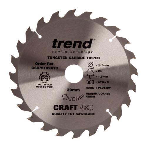 Trend CSB/21024TC CraftPro Saw Blade 210mm x 30mm x 24T - 2