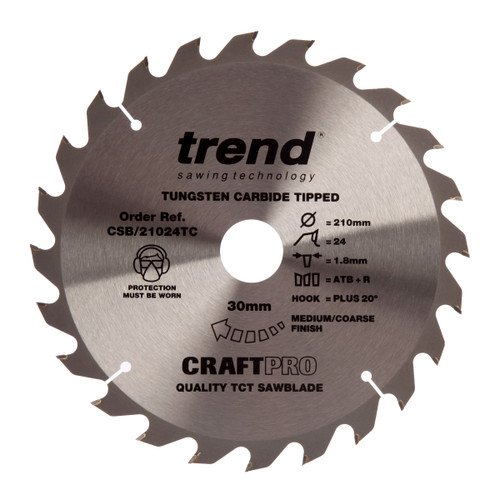 Trend CSB/21024TC CraftPro Saw Blade 210mm x 30mm x 24T - 2