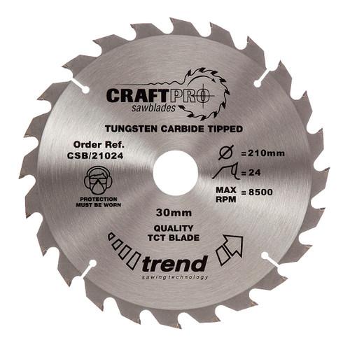 Trend CSB/21024 CraftPro Saw Blade 210mm x 30mm x 24T - 5