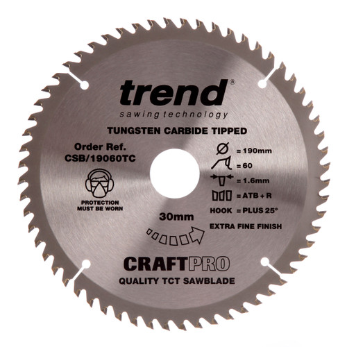 Trend CSB/19060TC CraftPro Saw Blade 190mm x 30mm x 60T - 2