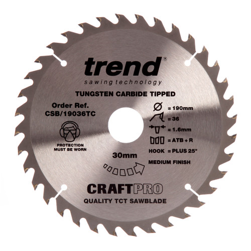 Trend CSB/19036TC CraftPro Saw Blade 190mm x 30mm x 36T - 2