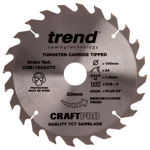 Trend CSB/19024TC CraftPro Saw Blade 190mm x 30mm x 24T - 2