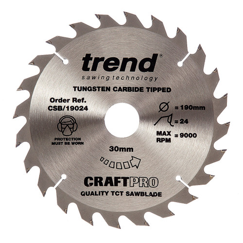 Trend CSB/19024 CraftPro Saw Blade 190mm x 30mm x 24T - 5