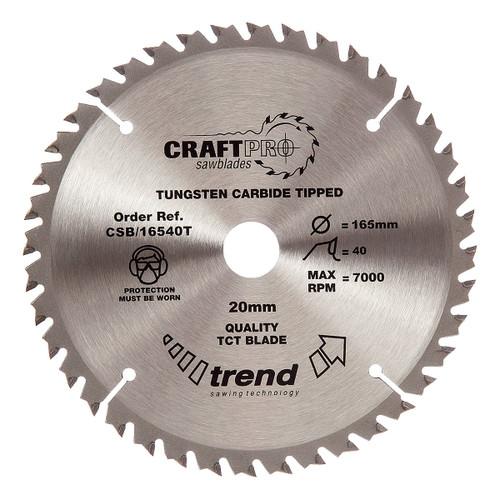 Trend CSB/16540T CraftPro Saw Blade 165mm x 40T x 20 Thin - 5