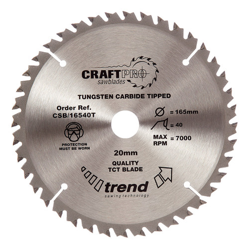 Trend CSB/16540T CraftPro Saw Blade 165mm x 40T x 20 Thin - 5