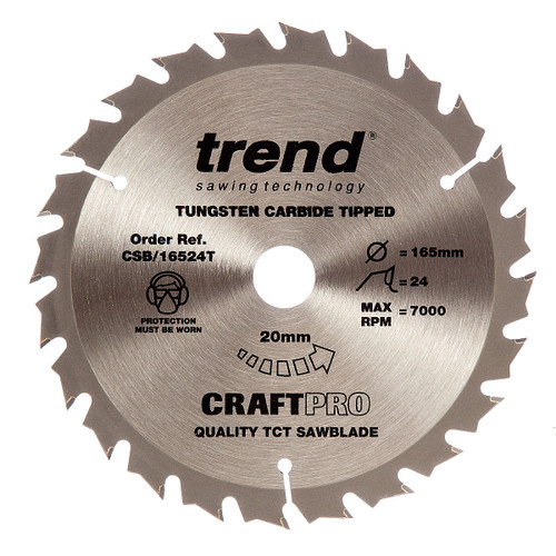 Trend CSB/16524T CraftPro Saw Blade 165mm x 24T x 20 Thin - 5