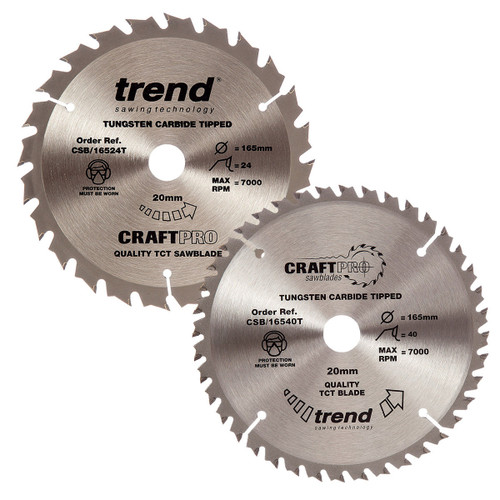 Buy Trend 165mm Sawblade Twin Pack 24T and 40T at Toolstop