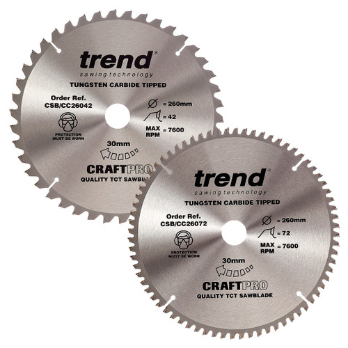 Buy Trend 260mm Sawblade Twin Pack 42T and 72T at Toolstop