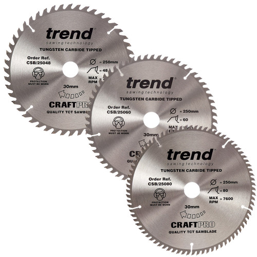 Buy Trend 250mm Sawblade Triple Pack 48T, 60T and 80T for GBP49.99 at Toolstop