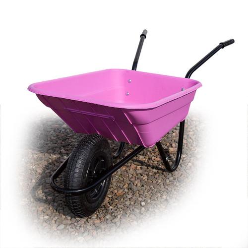 Barrow-in-a-Box Multi-Purpose Polypropylene Wheelbarrow Shire HD Pneumatic Tyre 90 Litre (Pink) - 4