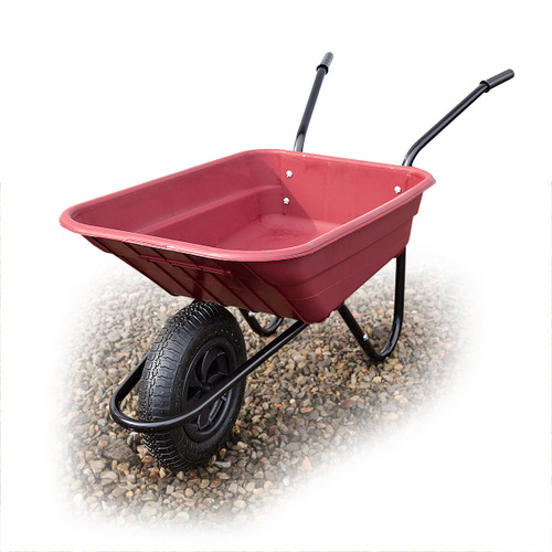 Barrow-in-a-Box Multi-Purpose Polypropylene Wheelbarrow Shire HD Pneumatic Tyre 90 Litre (Burgundy) - 4