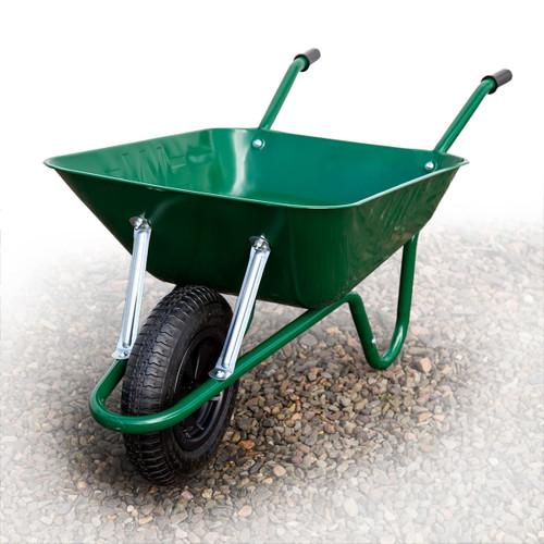 Barrow-in-a-Box BEASGP Heavy Duty Builders Wheelbarrow Easi-Load Pneumatic Tyre Green 85 Litre - 4
