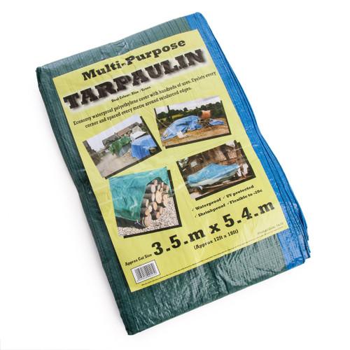 Multi-Purpose Tarpaulin Blue / Green 3.5 x 5.4 Metres / 12 Feet x 18 Feet 70gsm - 1