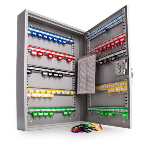 Sterling KC100HE Heavy Duty Key Cabinet in Grey with Euro Lock - 100 Hooks - 3