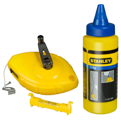 Stanley 0-47-443 Chalk Line 30 Metre Blue Chalk & Level - 1