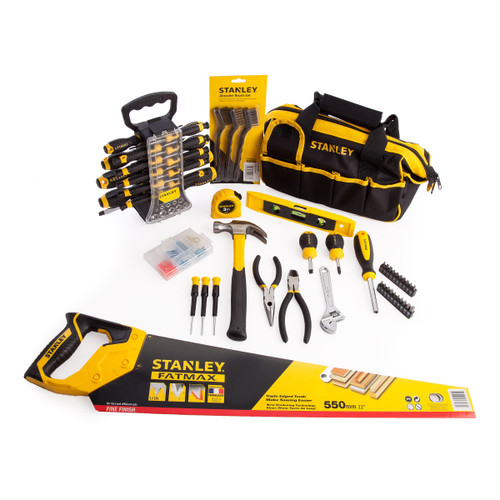 Stanley 51 Piece Screwdriver Set + 30 Piece Home Tool Kit with 100 Fixings, Hand Saw & Wire Brush Set - 12
