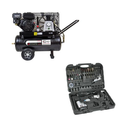 SIP 06217TS1 Airmate TP7.0/50 Petrol Air Compressor 07197 Air Tool Kit 73 Piece - 2
