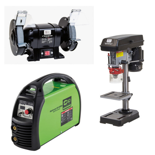 "SIP 05711SUM17 05711 Weldmate ARC/TIG Inverter Welder & 01700 B13-13 Pillar Drill & 07546 6"" Bench Grinder 240V - 3"