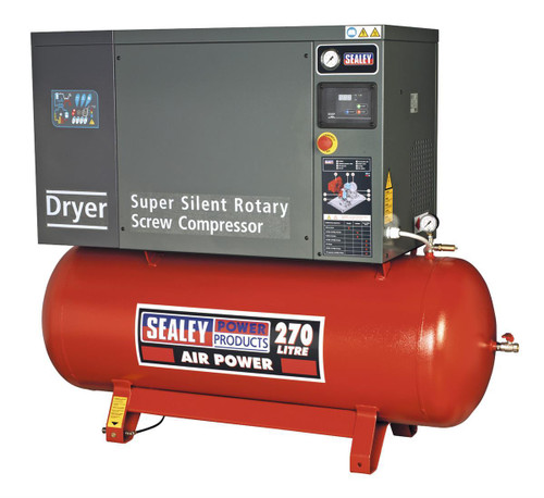Buy Sealey SSC12710D Screw Compressor 270ltr 10hp 3ph Low Noise With Dryer at Toolstop