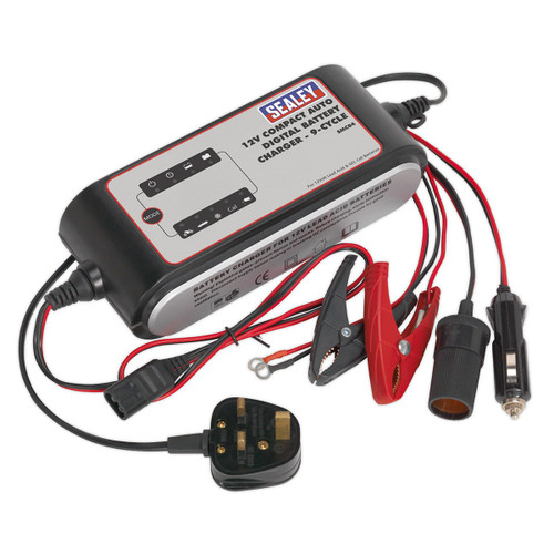 Buy Sealey SMC04 Compact Auto Digital Battery Charger - 9-cycle 12v at Toolstop