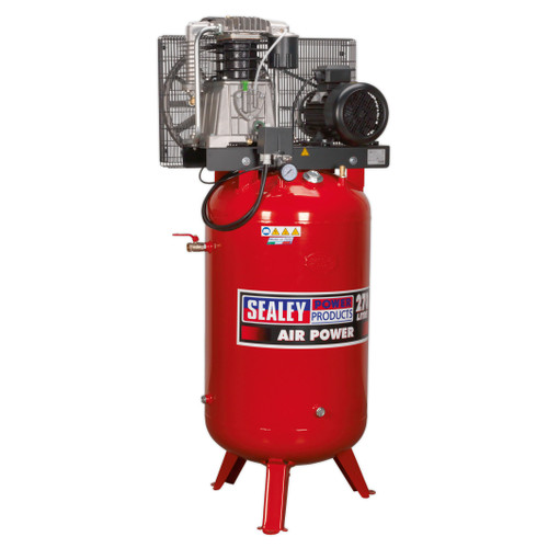 Buy Sealey SACV52775B Compressor 270ltr Vertical Belt Drive 7.5hp 3ph 2-Stage With Cast Cylinders at Toolstop