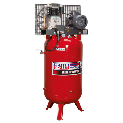 Buy Sealey SACV42755B Compressor 270ltr Vertical Belt Drive 5.5hp 3ph 2-Stage With Cast Cylinders at Toolstop