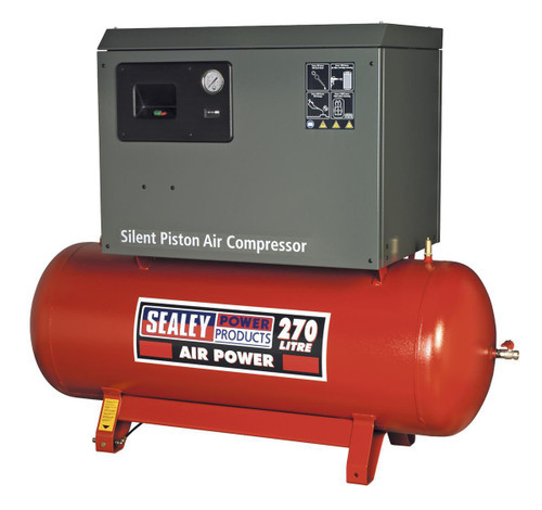 Buy Sealey SAC72775BLN Compressor 270ltr Belt Drive 7.5hp 3ph 2-stage With Cast Cylinders Low Noise at Toolstop
