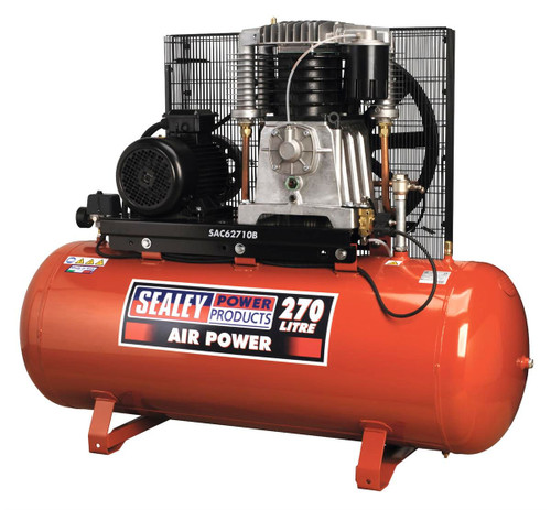 Buy Sealey SAC62710B Compressor 270ltr Belt Drive 10hp 3ph 2-stage With Cast Cylinders at Toolstop