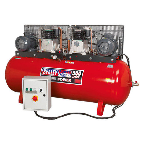 Buy Sealey SAC4505555B Compressor 500ltr Belt Drive 2 X 5.5hp 3ph 2-Stage With Cast Cylinders at Toolstop
