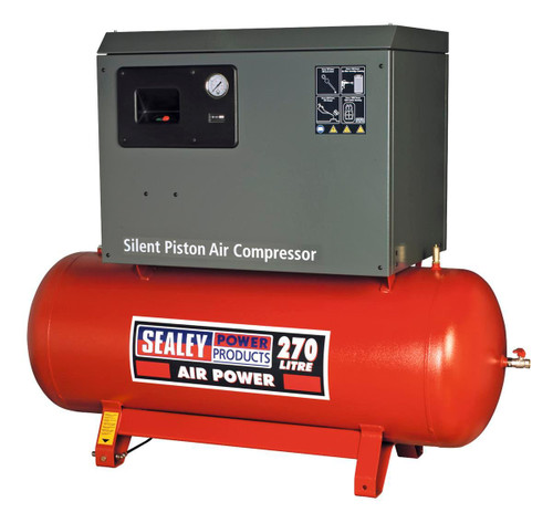 Buy Sealey SAC42755BLN Compressor 270ltr Belt Drive 5.5hp 3ph 2-stage With Cast Cylinders Low Noise at Toolstop