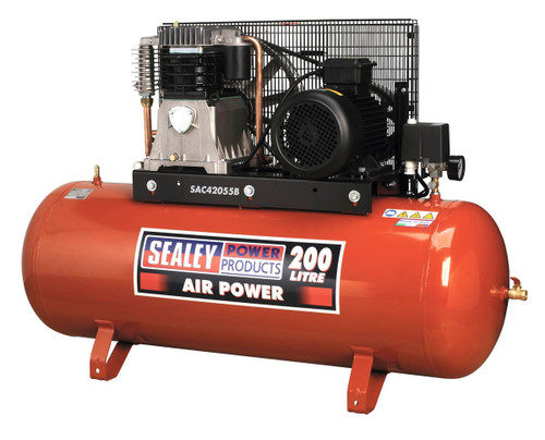 Buy Sealey SAC42055B Compressor 200ltr Belt Drive 5.5hp 3ph 2-stage With Cast Cylinders at Toolstop
