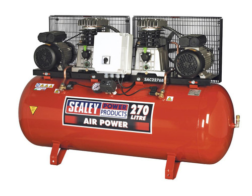 Buy Sealey SAC2276B Compressor 270ltr Belt Drive 2 X 3hp With Cast Cylinders at Toolstop