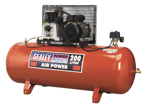 Buy Sealey SAC2203B Compressor 200ltr Belt Drive 3hp With Cast Cylinders at Toolstop
