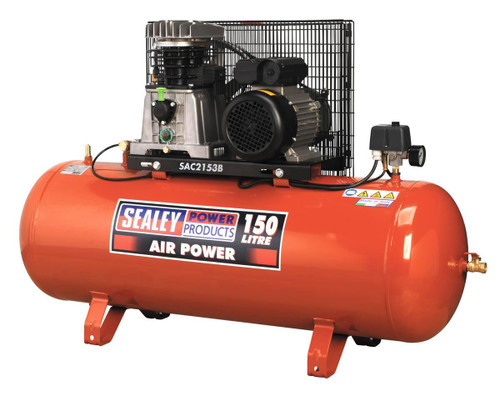 Buy Sealey SAC2153B Compressor 150ltr Belt Drive 3hp With Cast Cylinders at Toolstop