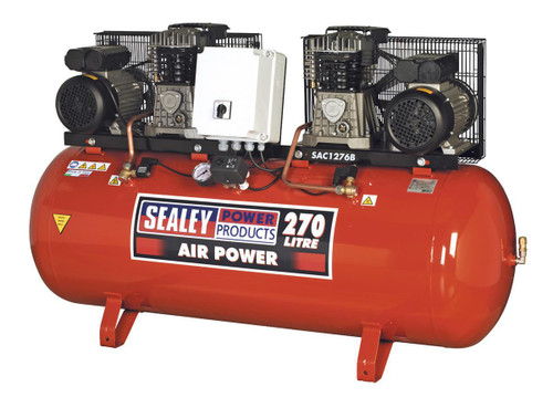 Buy Sealey SAC1276B Compressor 270ltr Belt Drive 2 X 3hp With Cast Cylinders at Toolstop