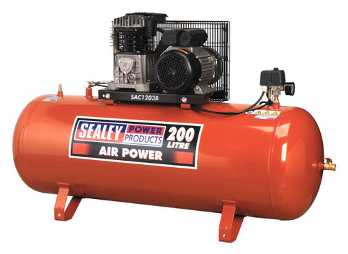 Buy Sealey SAC1203B Compressor 200ltr Belt Drive 3hp With Cast Cylinders at Toolstop